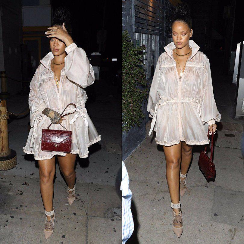 8008f81e41efb Rihanna Fenty Puma tiered jacket sheer, lace-up heels, Dior handbag