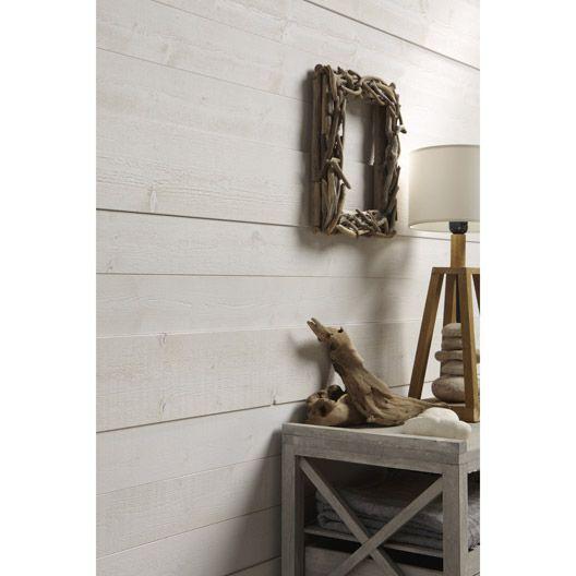 Lambris bois sapin brut de sciage blanc, 205x13cm ep 14mm lambris