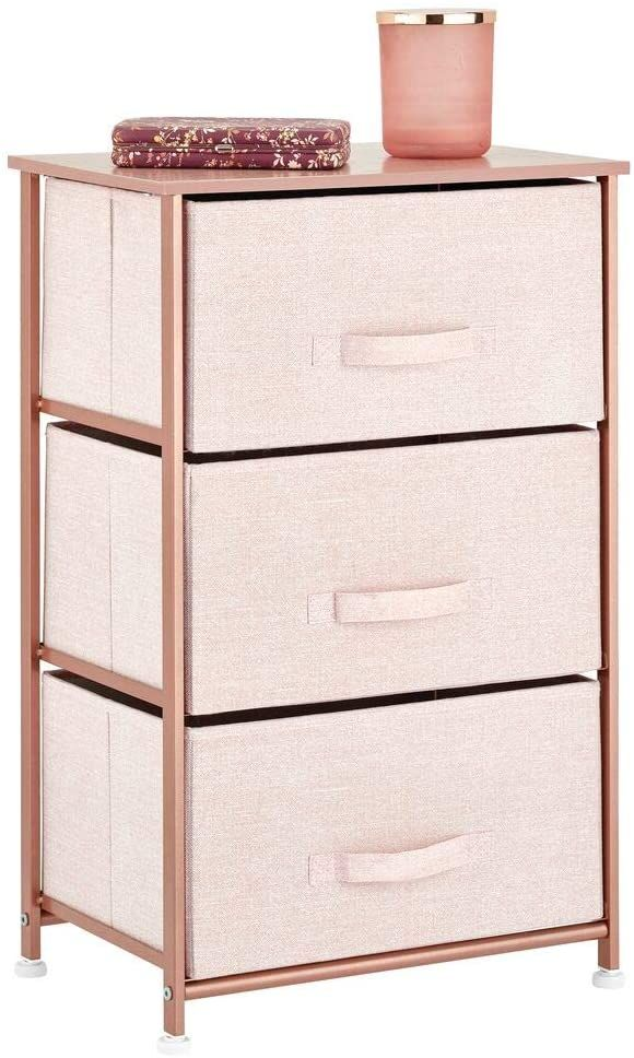 Amazon.com: mDesign Vertical Dresser Storage Tower - Sturdy Steel Frame, Wood Top, Easy Pull Fabric Bins - Organizer Unit for Bedroom, Hallway, Entryway, Closets - Textured Print, 3 Drawers - Light Pink/Rose Gold: Home & Kitchen