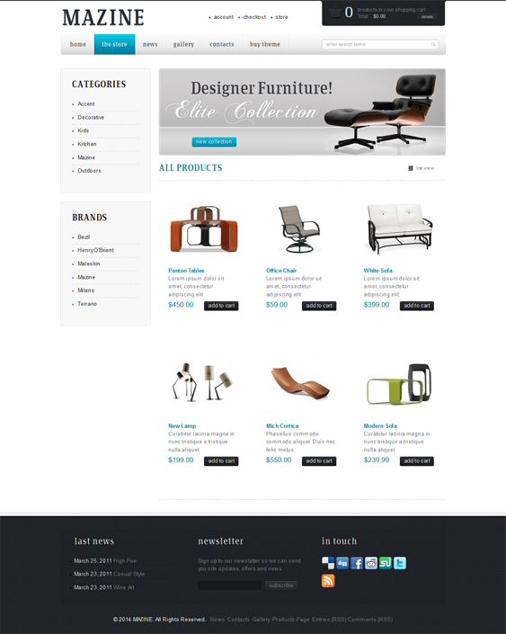 This WP e-Commerce WordPress theme includes an Ajax newsletter ...