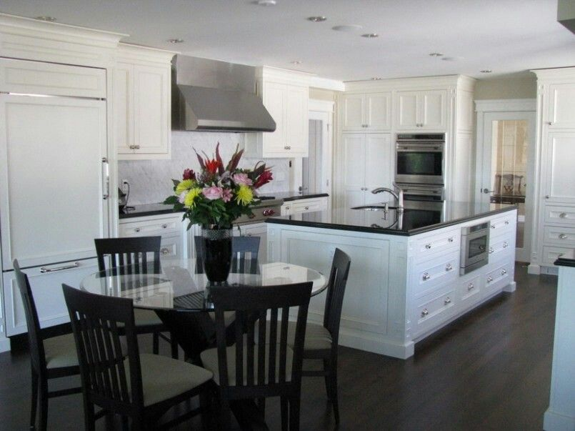 This is my kitchen. Dark floors white cabinets and black ... Ideas For Kitchen Dark Floors White Cabinets And Backsplash on