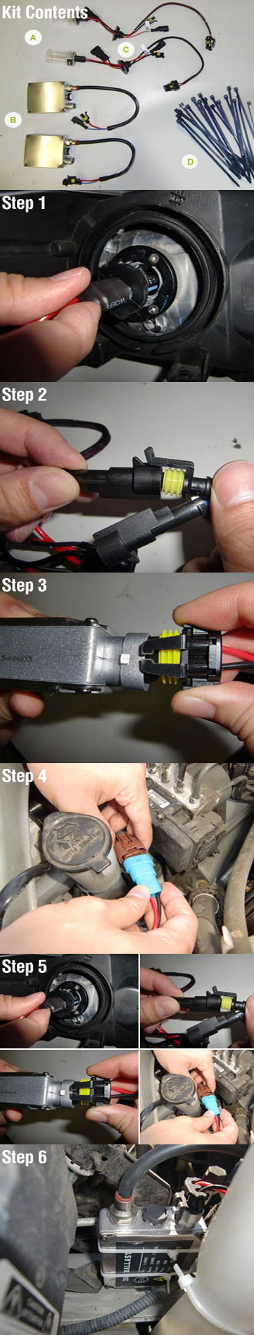1 Remove The Stock Halogen Bulb And Replace It With The Hid Bulb 2 Connect The Bulb S Cylindrical Plugs To The B Light Accessories Halogen Bulbs Installation