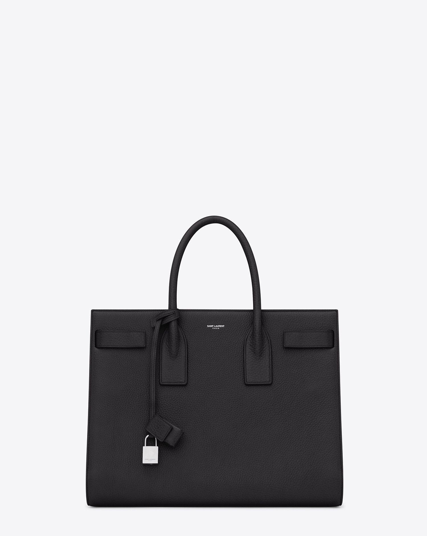 63ce189289 Saint Laurent CLASSIC LARGE SAC DE JOUR BAG In Black Grained Leather ...
