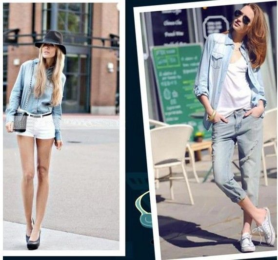 [S1358] Free Shipping Fashion Women's Casual Pure Cotton Blouses Ladies' Denim Shirts/Long Jeans Blouses - STYLANDO