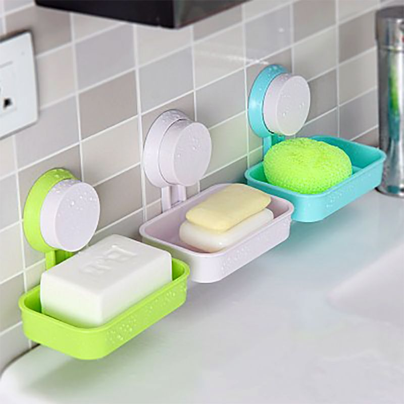 Plastic Shower Strong Suction Cup Soap Dish Tray Wall Holder Bathroom Soap Storage Box Practical Bath Tools Soap Holder Soap Soap Boxes