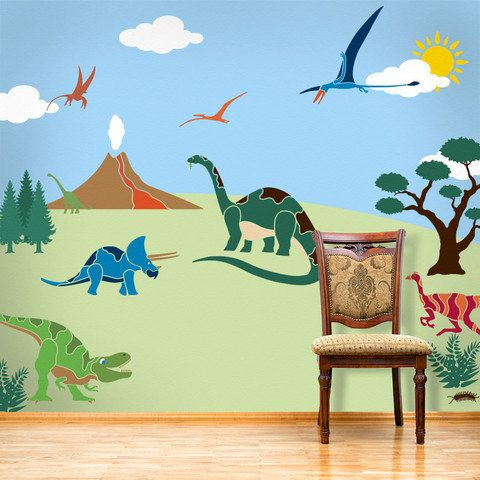 Dinosaur wall mural stencil kit for boys or baby by mywallstencils mural pinterest dinosaures appliqué et chambres