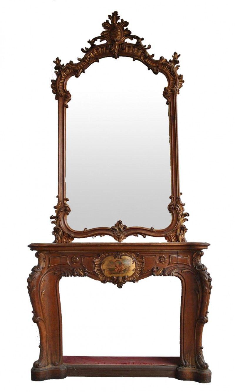 cheminée en noyer style Louis XV époque fin XIXème [7500,00€]