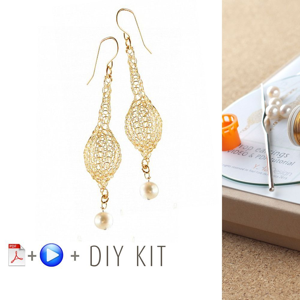 How to wire crochet drop earrings - DIY kit | Wire crochet, Crochet ...