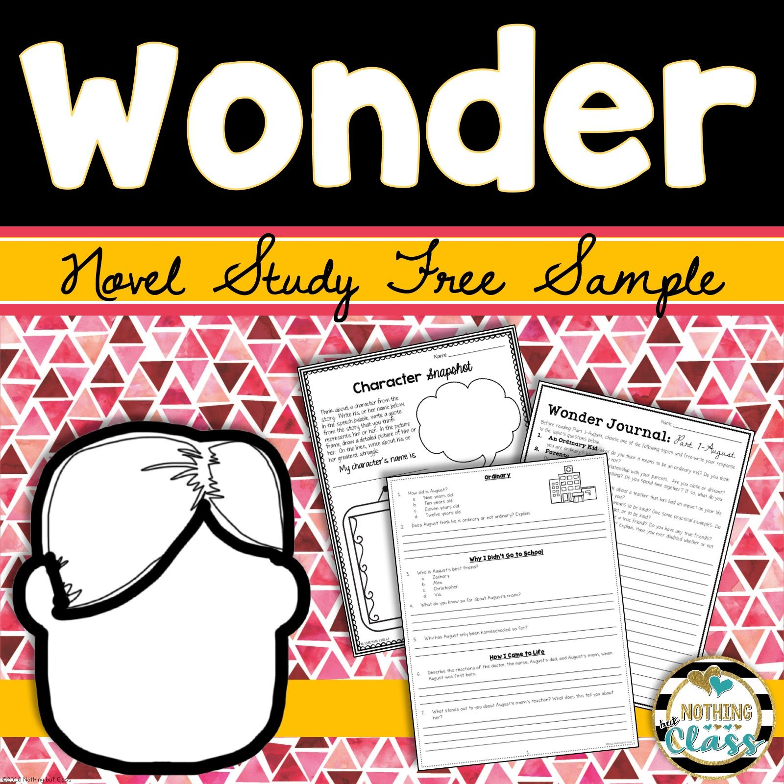 Wonder Novel Study Unit Free Sample Wonder Novel Novel Study