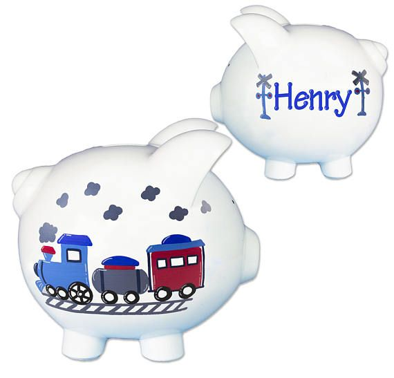 Huchas Para Bebes.Hand Painted Personalized Train Piggy Bank For Boys Ceramic