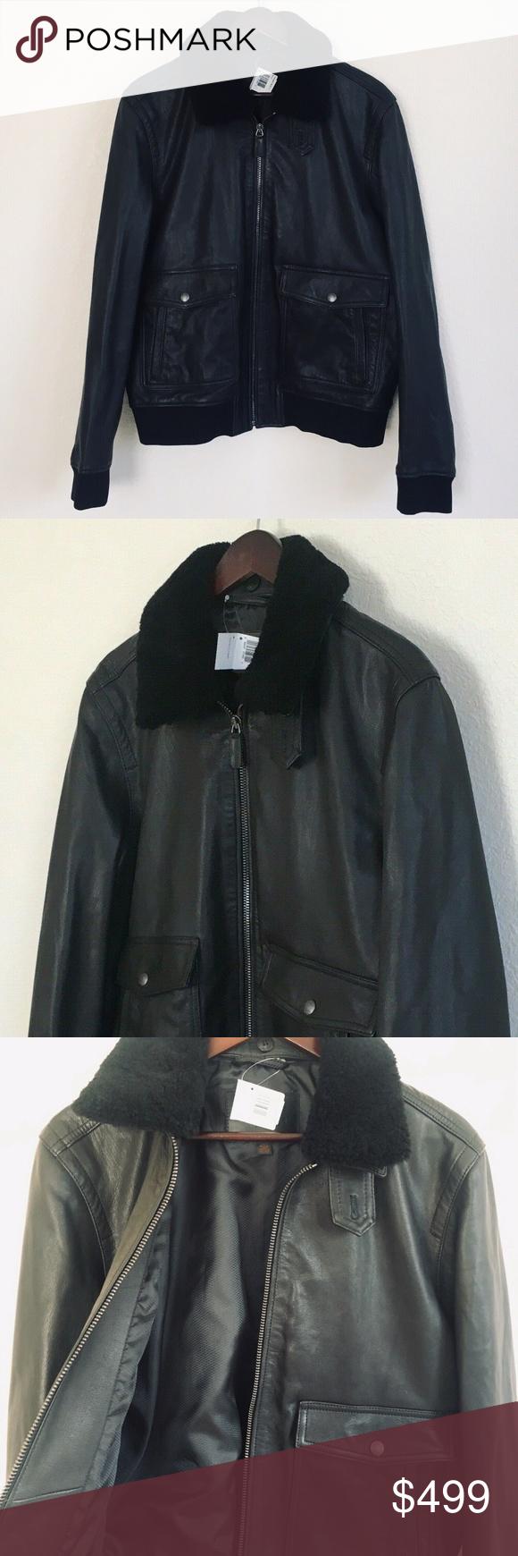 Coach Men Leather Shearling Collar Bomber Jacket Coach Men L Goat Leather Shearling Collar Bomber Jacket Black F84862 1 Clothes Design Jackets Fashion Design [ 1740 x 580 Pixel ]