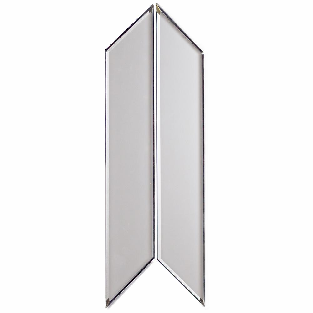 Abolos Reflections Silver Beveled Deco 4 In X 12 In Matte Glass Mirror Wall Tile 16 2 Sq Ft Case Hmdremset Si P Mirror Wall Tiles Wall Tiles Beveled Glass