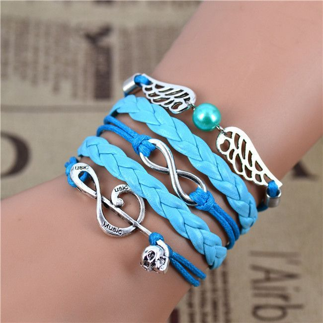 Fine or Fashion:Fashion Item Type:Bracelets Chain Type:Charm Bracelets Gender:Unisex Clasp Type:Lobster Metal : Alloy Material : Leather ,Wax Rope Length:17+5cm (Extended chain), (1 inch=2.54 cm) Styl
