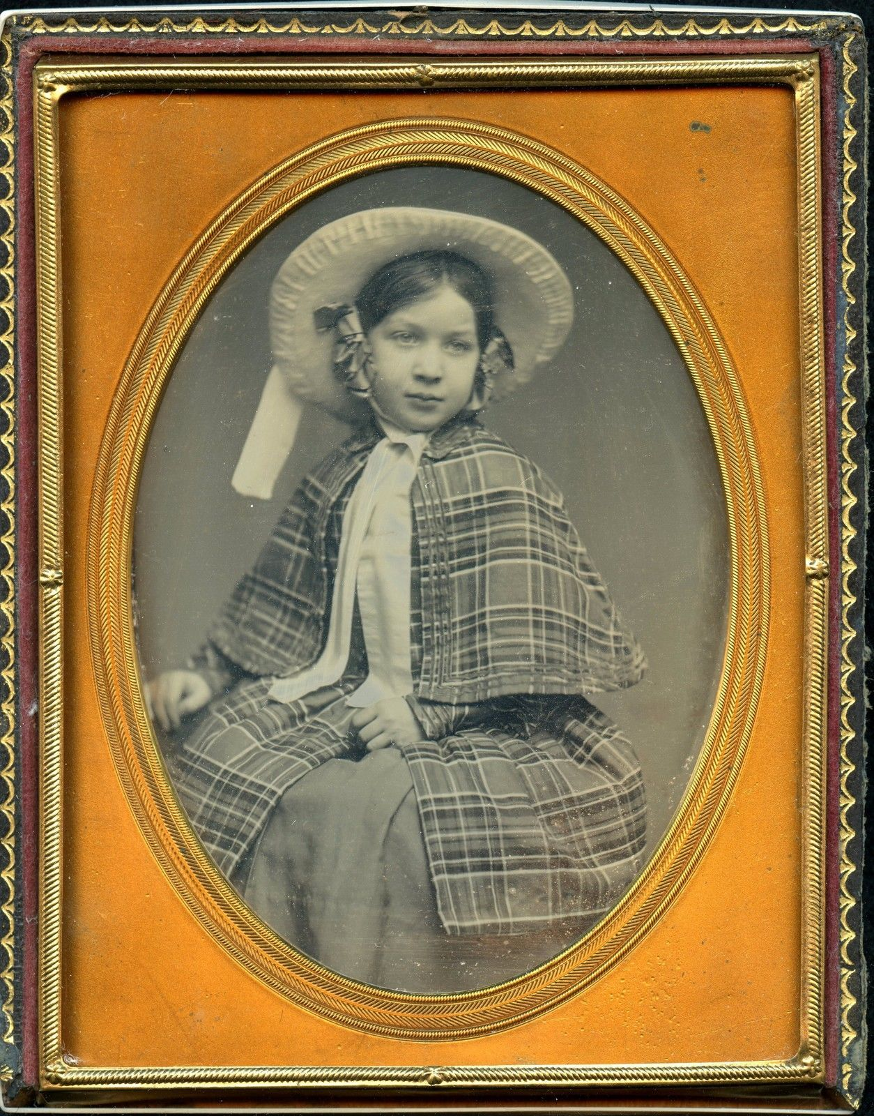 Half plate daguerreotype of young girl w/ wonderful clothing - id'd prominent