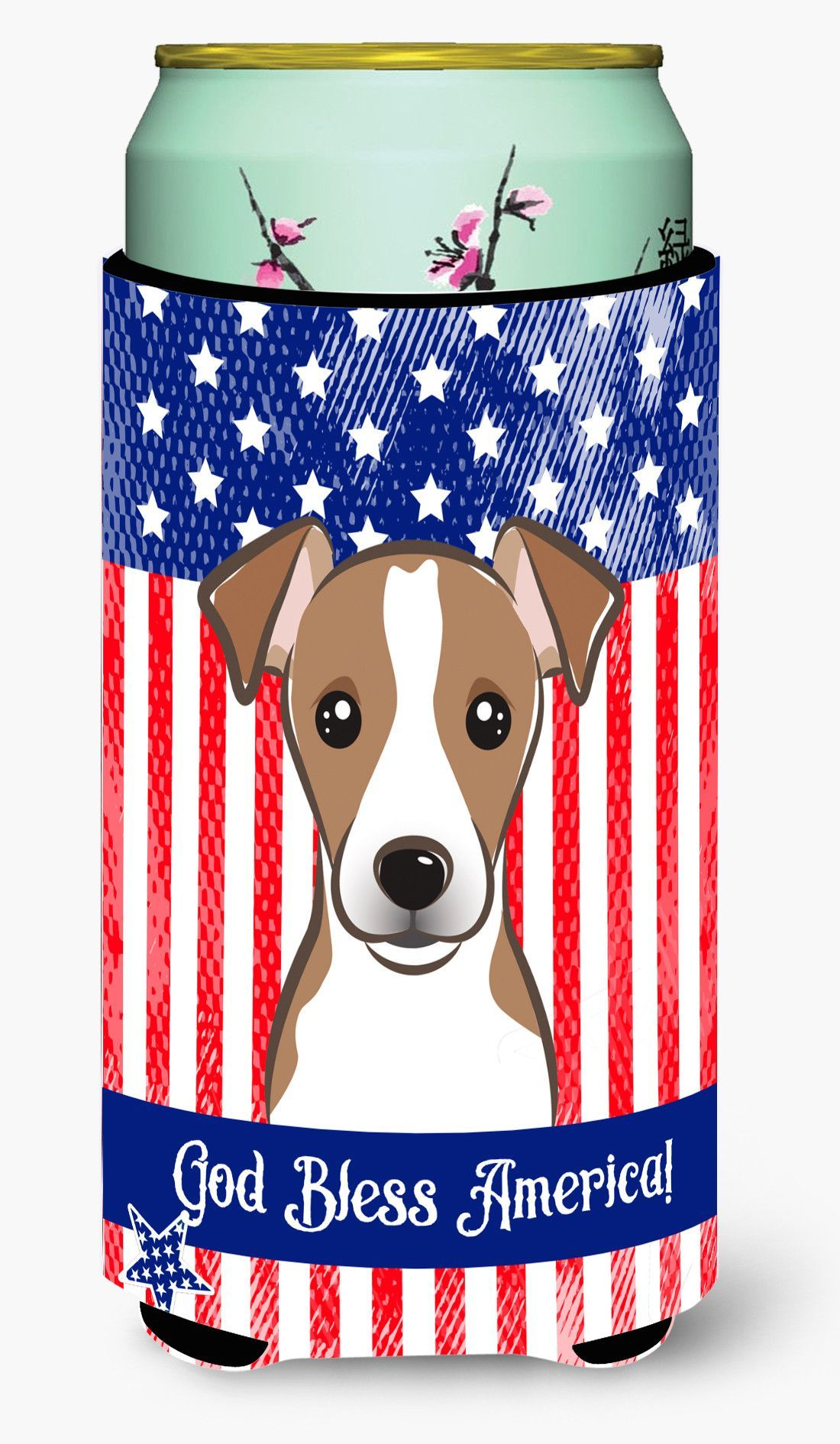 God Bless American Flag with Jack Russell Terrier Tall Boy Beverage Insulator Hugger BB2190TBC