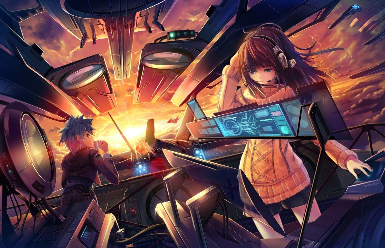 Aircraft Blue Eyes Blue Hair Brown Hair Clouds Computer Headphones Long Hair Original Short Hair Sunset Zu Anime Background Hd Anime Wallpapers Anime Wallpaper