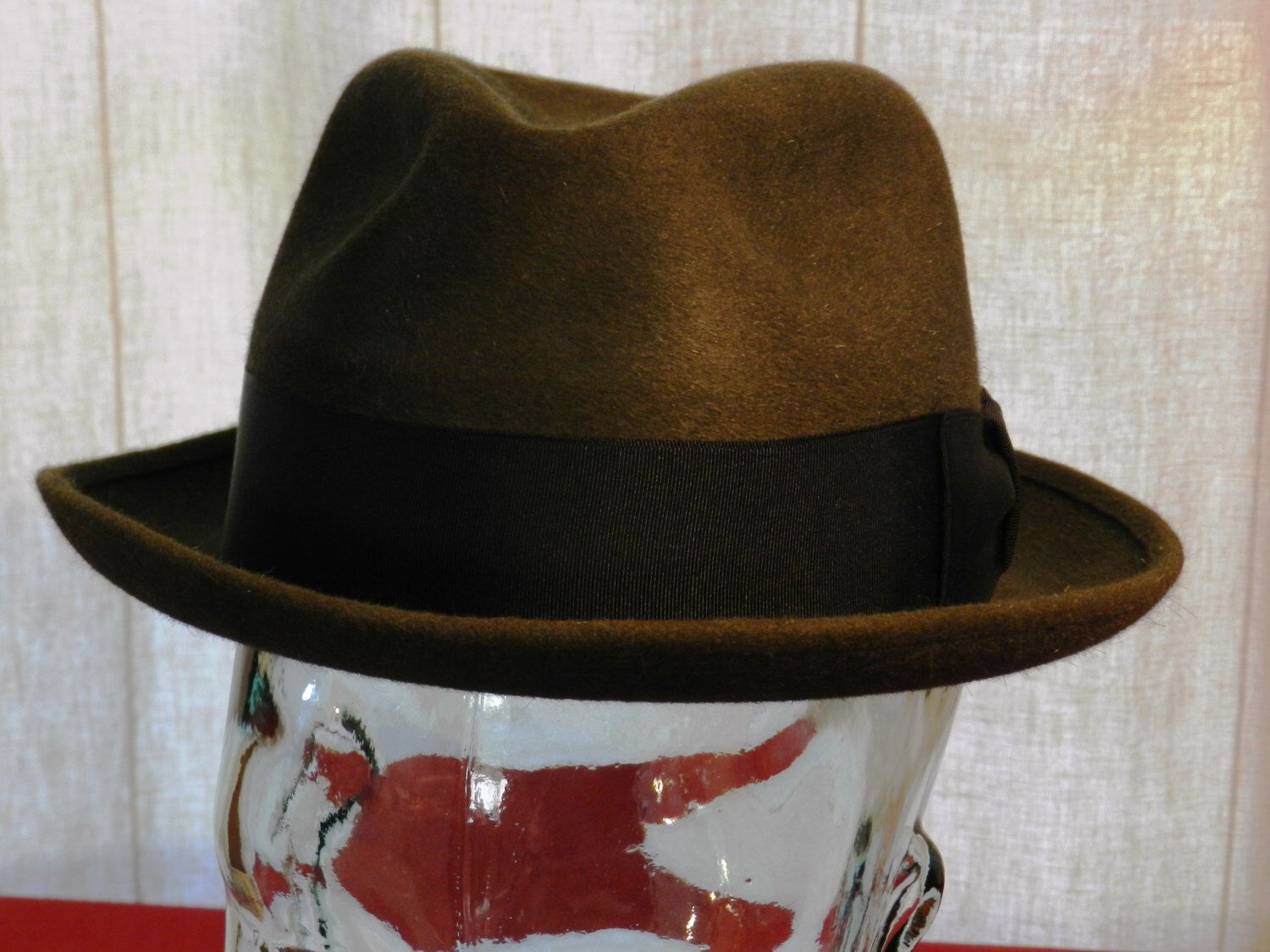 8b6179e430af6 Vintage Olive Green Adam of New York Fedora Style Pluto Size 6 7 8 00632