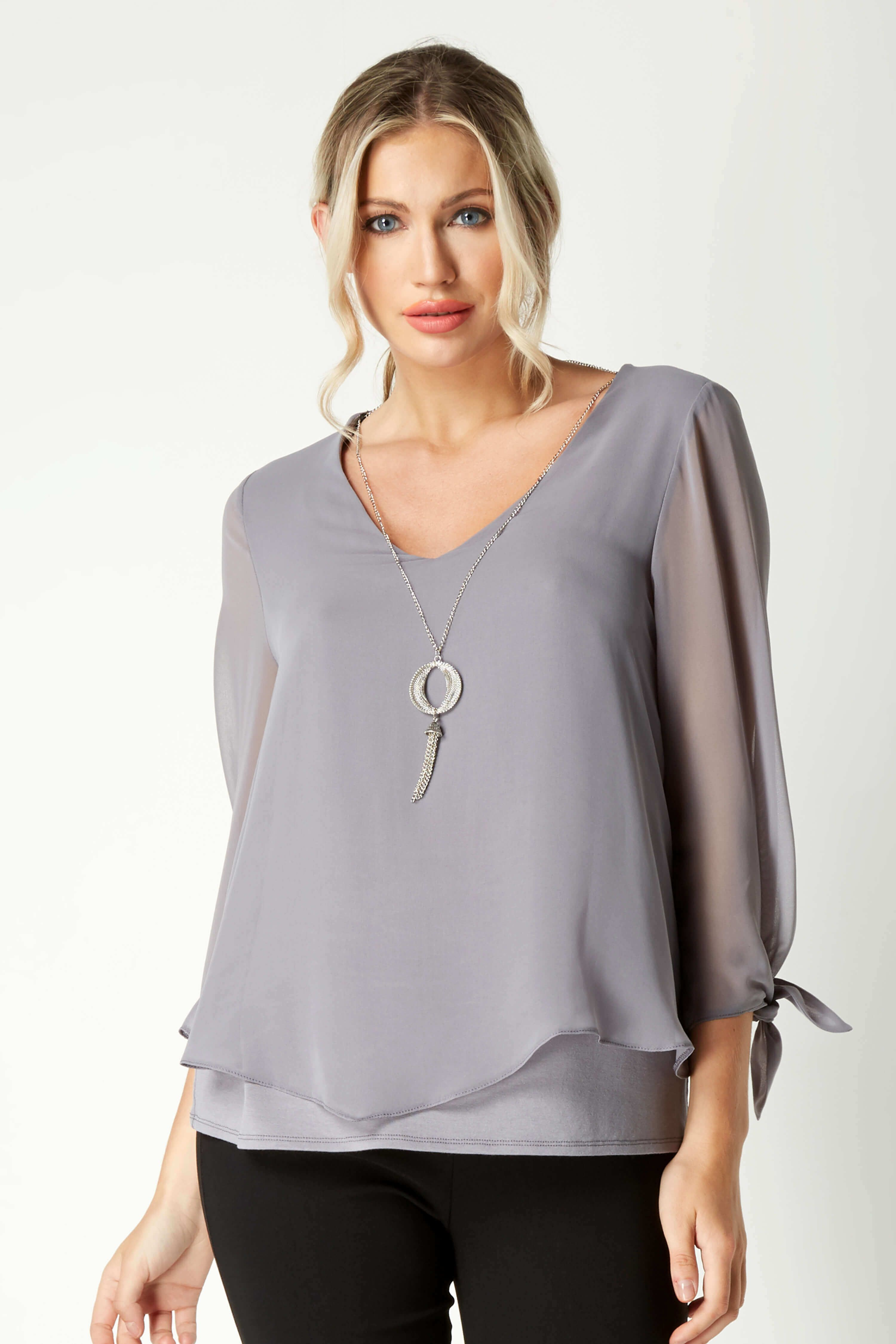 a1891d632909 Necklace Trim Sleeve Tie Top - Free UK Delivery - 10 12 14 16 18 20 - This  easy to-wear chiffon overlay top is a great everyday piece to add to your  ...
