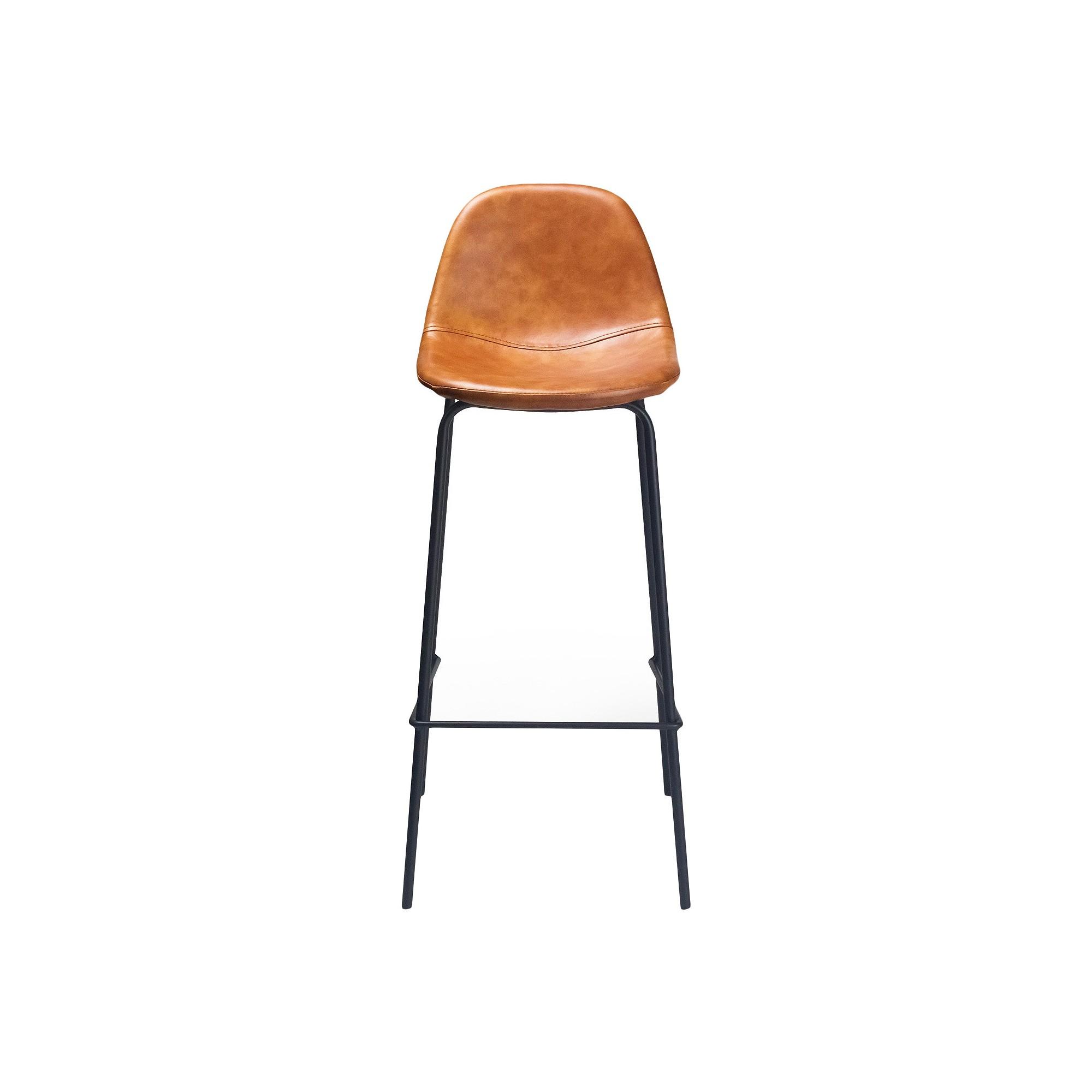 Maxine Modern Upholstered Faux Leather Barstool (Set of 2) - Honey - Aeon
