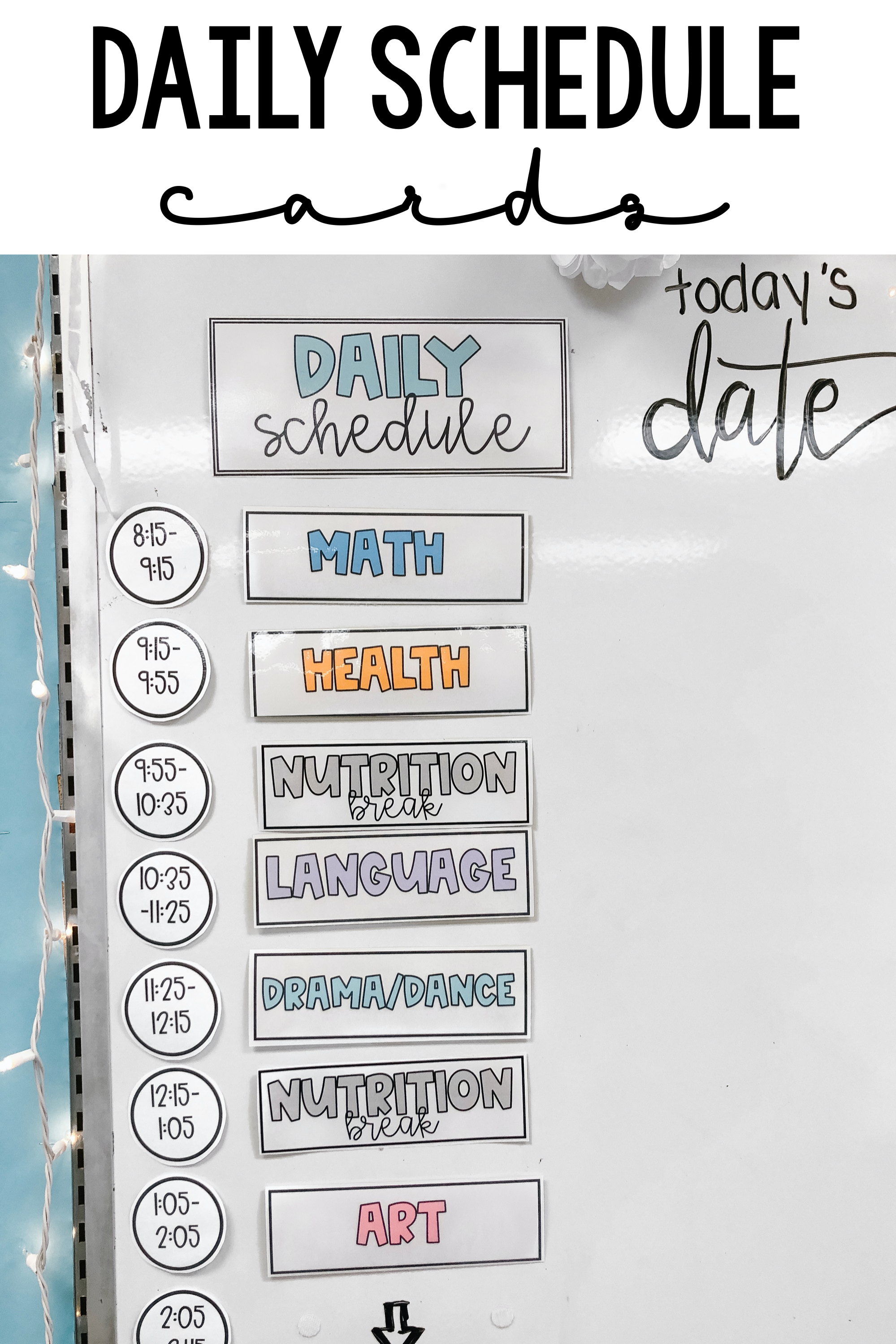Classroom Schedule Cards In