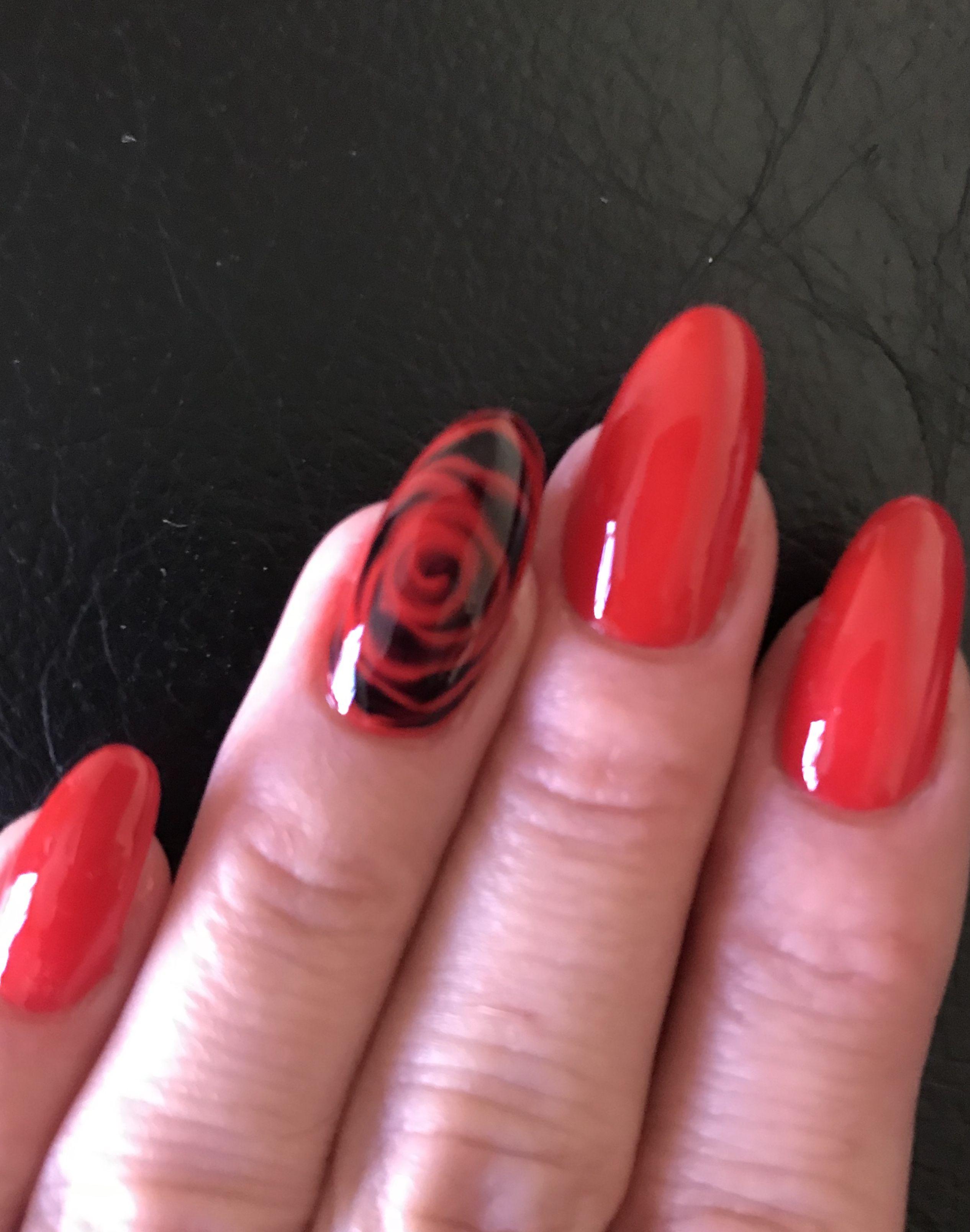 Black And Red Rose Nail Art Design Rose Nails Rose Nail Art