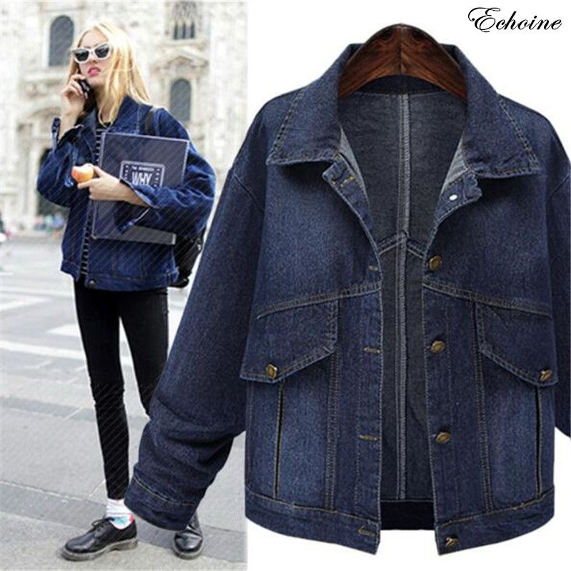 Echoine Echoine Echoine Big Women Long Single Breasted Size Sleeve Denim Coats Turn rwrtZS1q