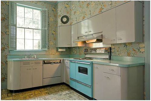 Best Gorgeous Gray And Turquoise 1956 Dream Kitchen And Four 400 x 300