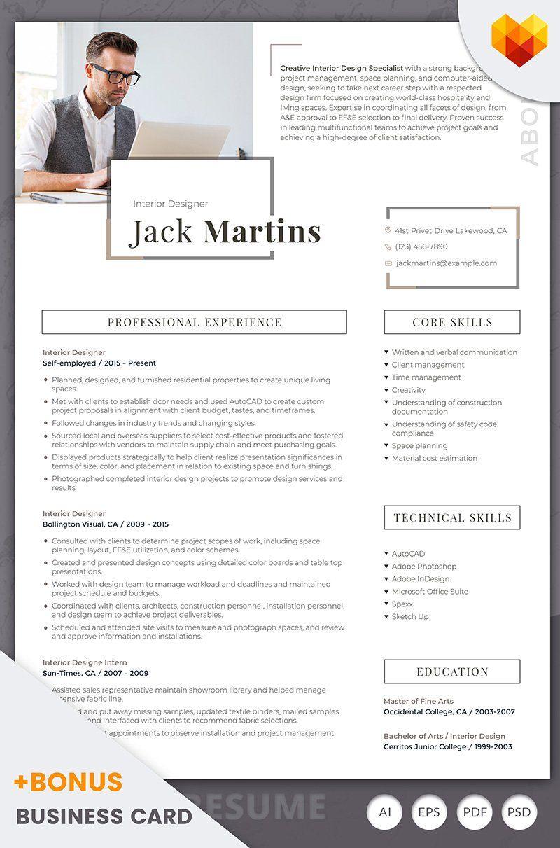 Jack Martins Interior Designer Resume Template 66437 in