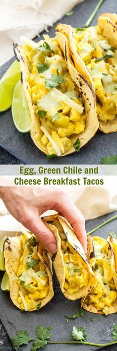 Egg, Green Chile and Cheese Breakfast Tacos   Corn tortillas filled with cheesy scrambled eggs and green chiles, topped with cilantro lime crema. This hearty breakfast won't disappoint!