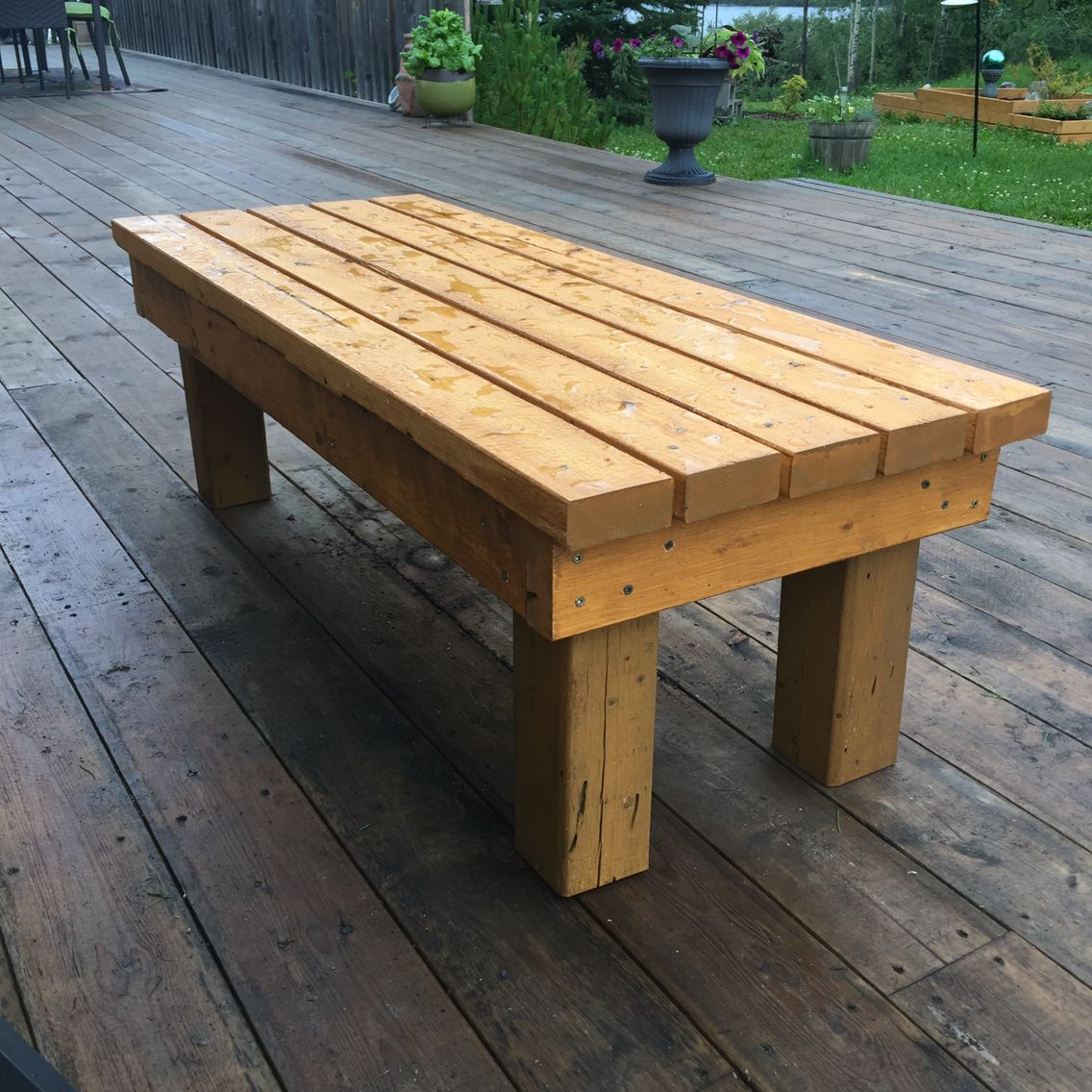 Stupendous July 16 My First Easy Diy Bench 2X4S And A 4X4 Post I Pdpeps Interior Chair Design Pdpepsorg