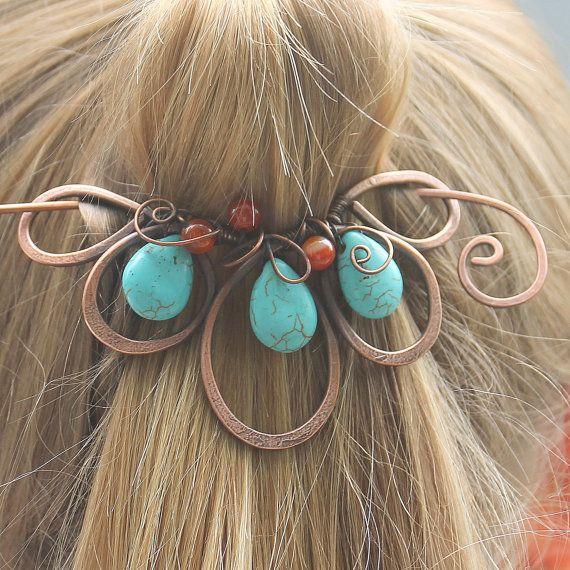 Turquoise Hair Jewelry Boho Hair Clip Hair Slide Copper Hair Pin Hair Accessories for Women Gift Flower Beaded Hair Barrette
