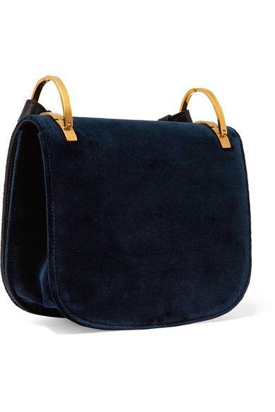 6629c1ea554e64 Prada - Pionnière Leather-trimmed Velvet Shoulder Bag - Midnight blue - one  size