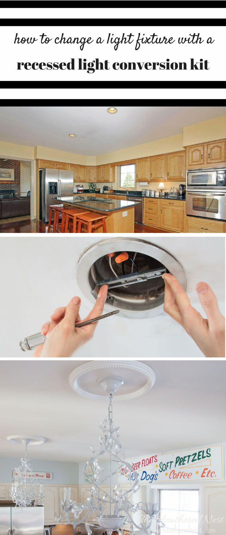 How to change a light fixture using a recessed light conversion kit great tutorial for how to change a light fixturehow to change a recessed light to a chandelier or pendant light would be awesome in our kitchenmaster arubaitofo Gallery