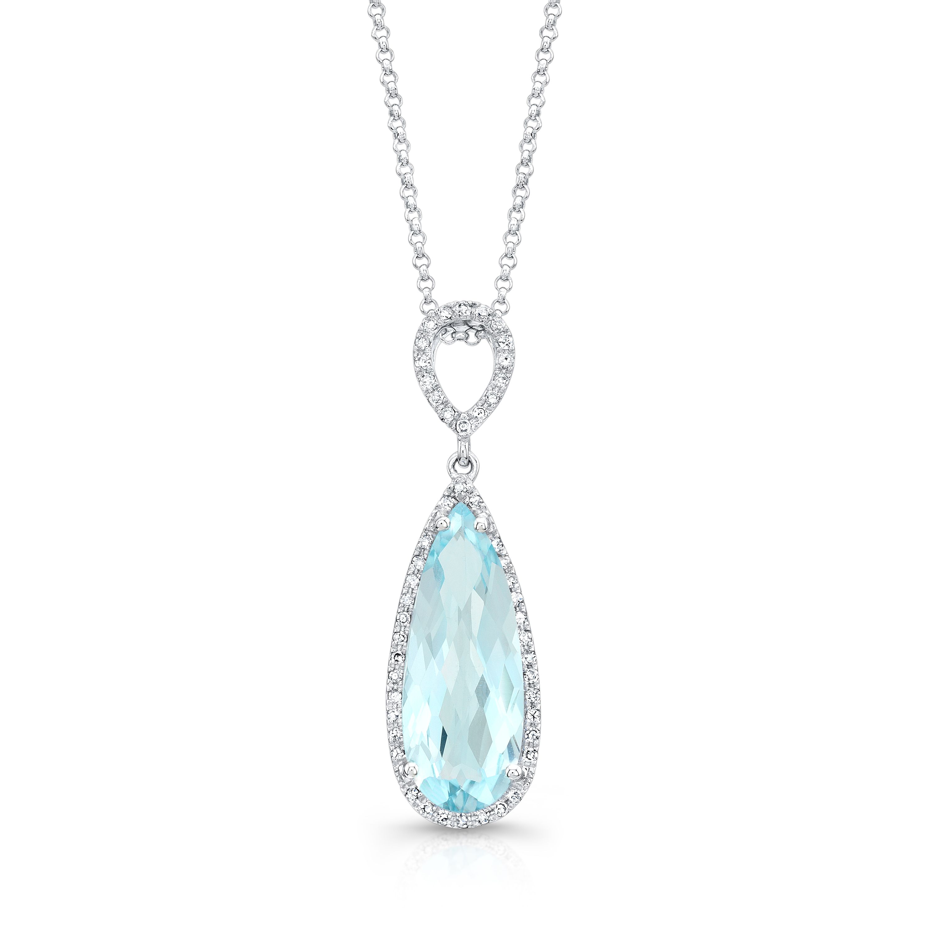 K white gold double drop halo pendant with pear shaped blue