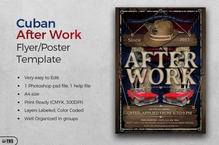cuban after work flyer template the hungry jpeg flyer templates