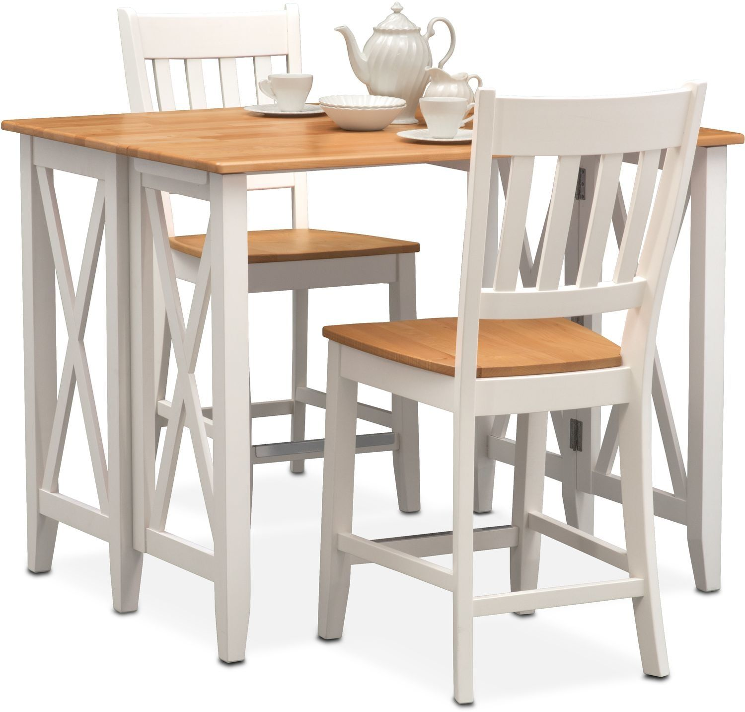 Nantucket Breakfast Bar And 2 Counter Height Slat Back Chairs