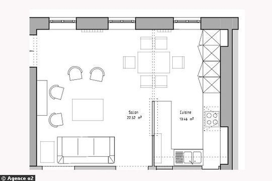 Une cuisine semi-ouverte de 13 m2 (le plan) cuisine Pinterest - plan salon cuisine sejour salle manger