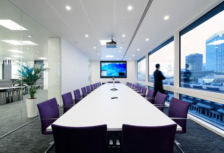 Super Long Conference Table But Love The Purple Chairs Space - Long meeting table