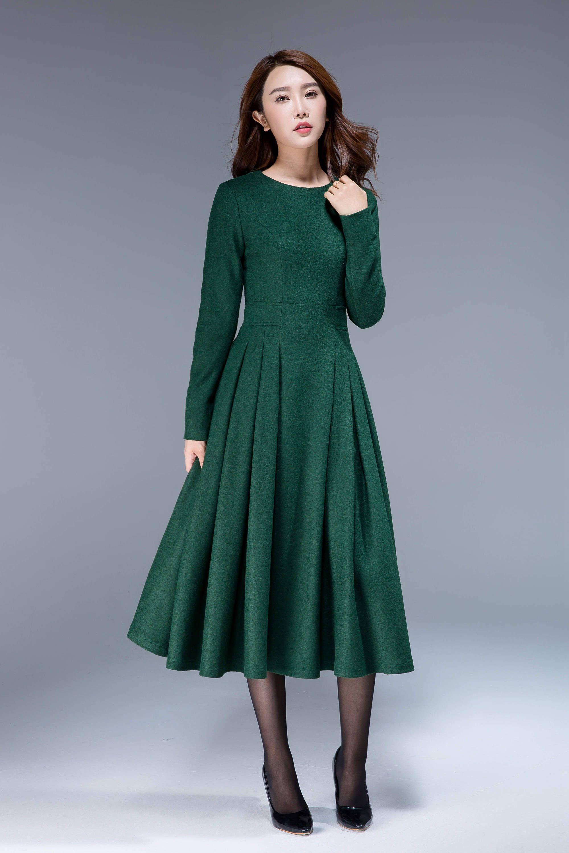 Green dress, wool dress, midi dress, pleated dress, fit and flare