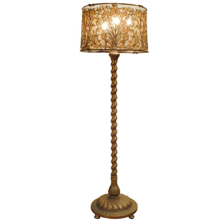 1stdibs An Italian Baroque Style Cast Brass Floor Lamp With Woven French Lampshade French Lamp Shades Brass Floor Lamp Floor Lamp