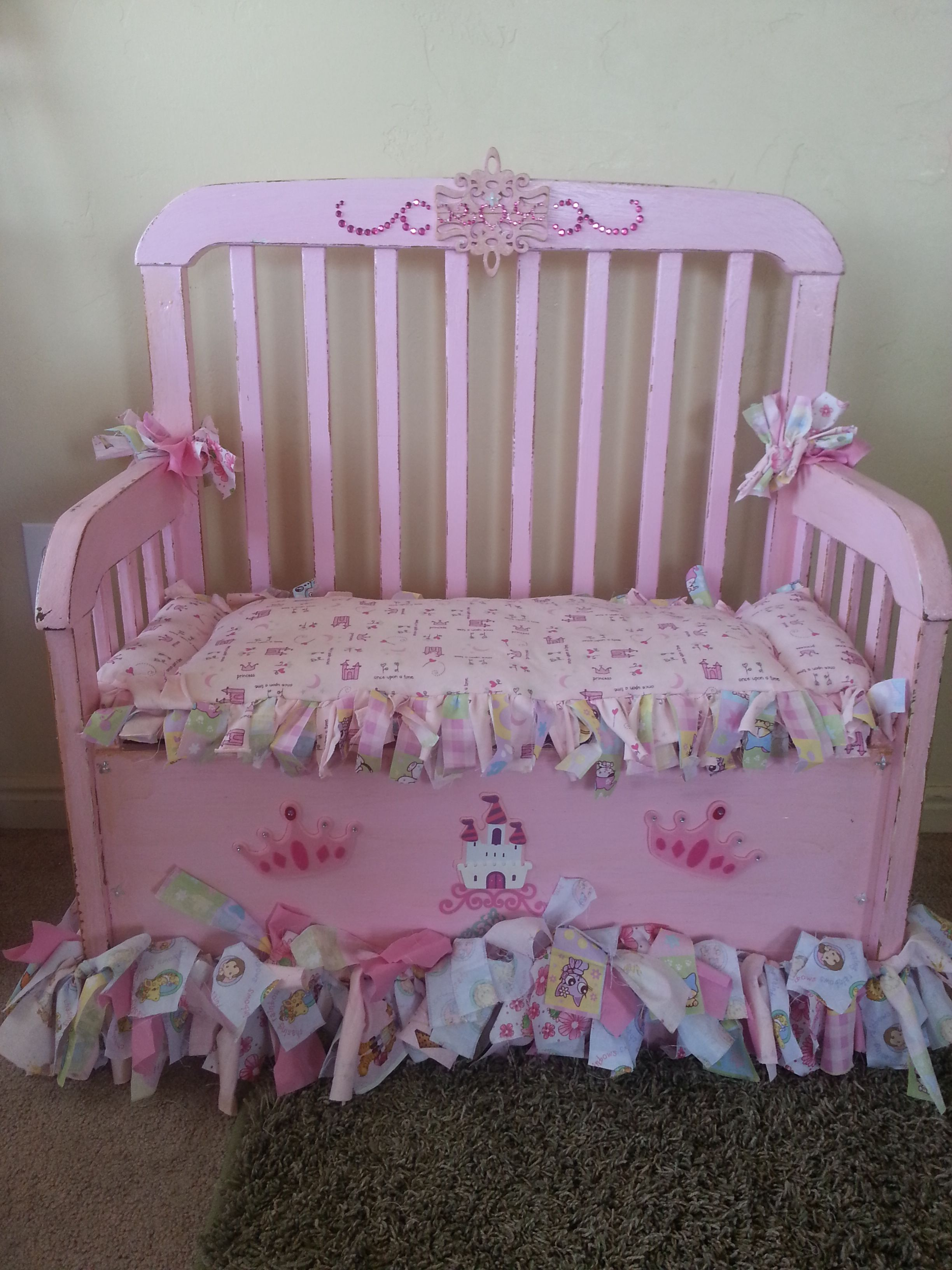 My Girls repurposed baby crib, now a Toy Chest/Bench Old