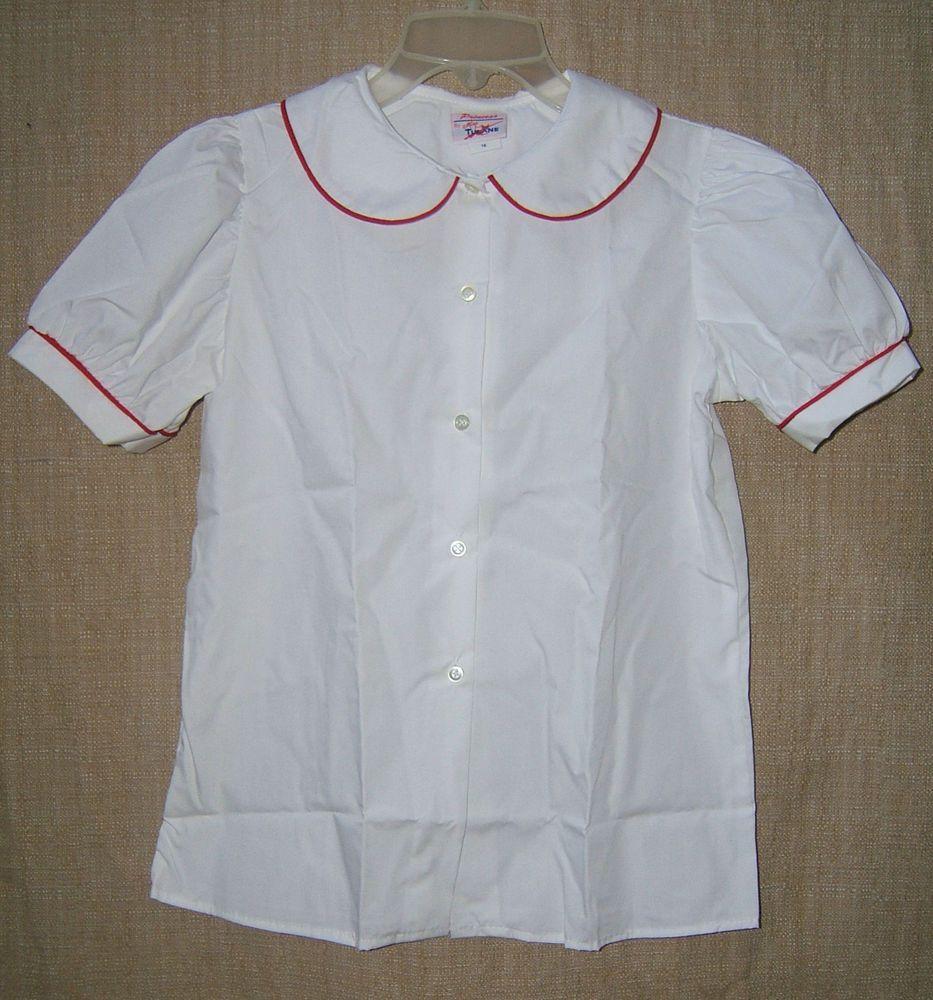 Girls Short Sleeve Peter Pan Collar Shirt School Uniform