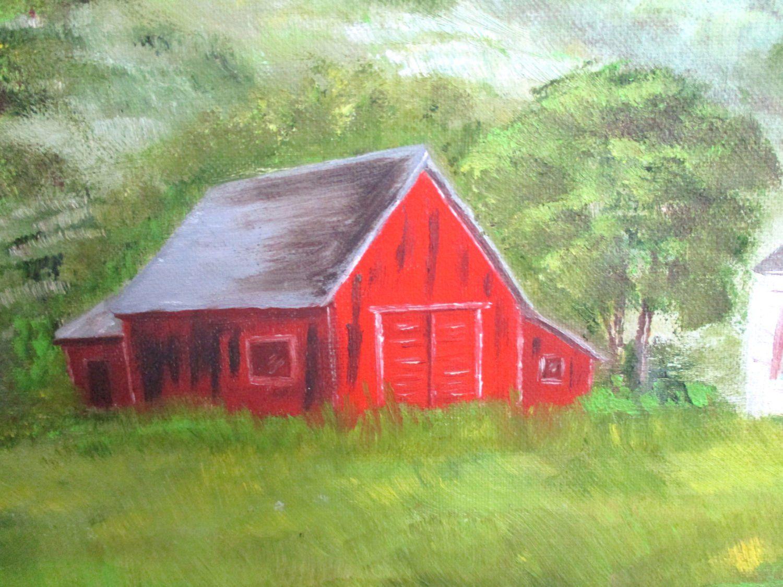 Original Oil Painting Bright Red Tree