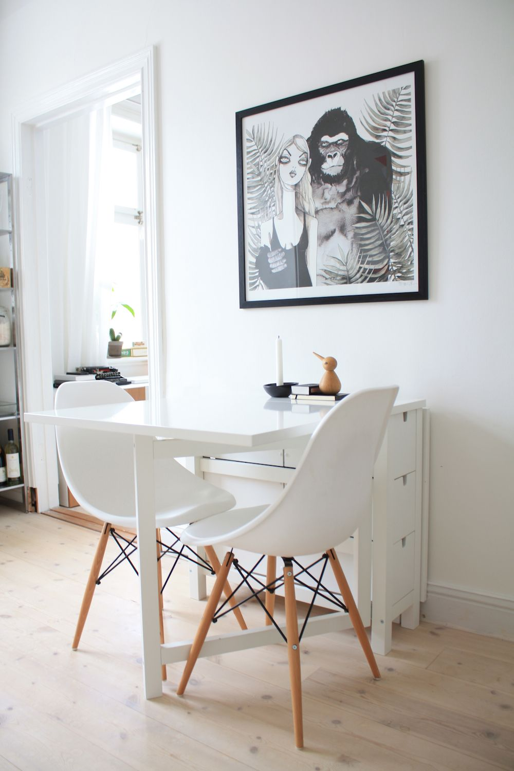 Astonishing Small White Dining Table By Ikea And Eames Chairs Kitchen Spiritservingveterans Wood Chair Design Ideas Spiritservingveteransorg