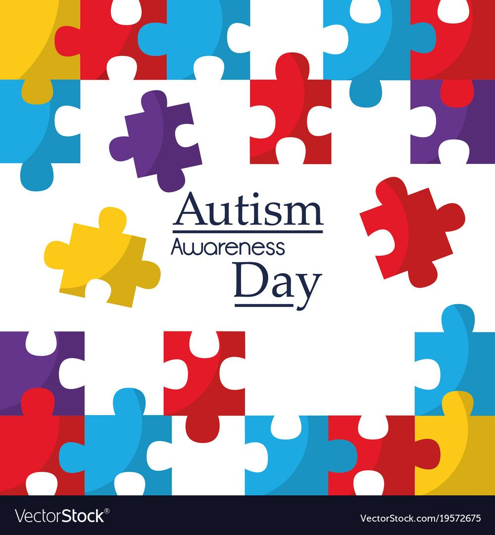 Autism awareness poster with puzzle pieces vector image on
