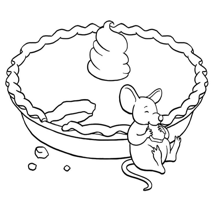 Mouse Eating A Pie Coloring Page Free Coloring Pages Fall