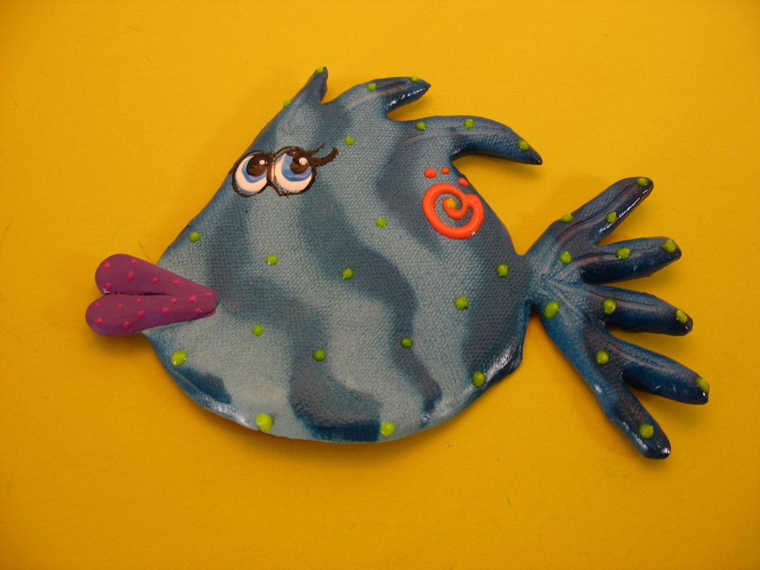 Whimsical wall hanging blowfish, underwater fish room decor ...