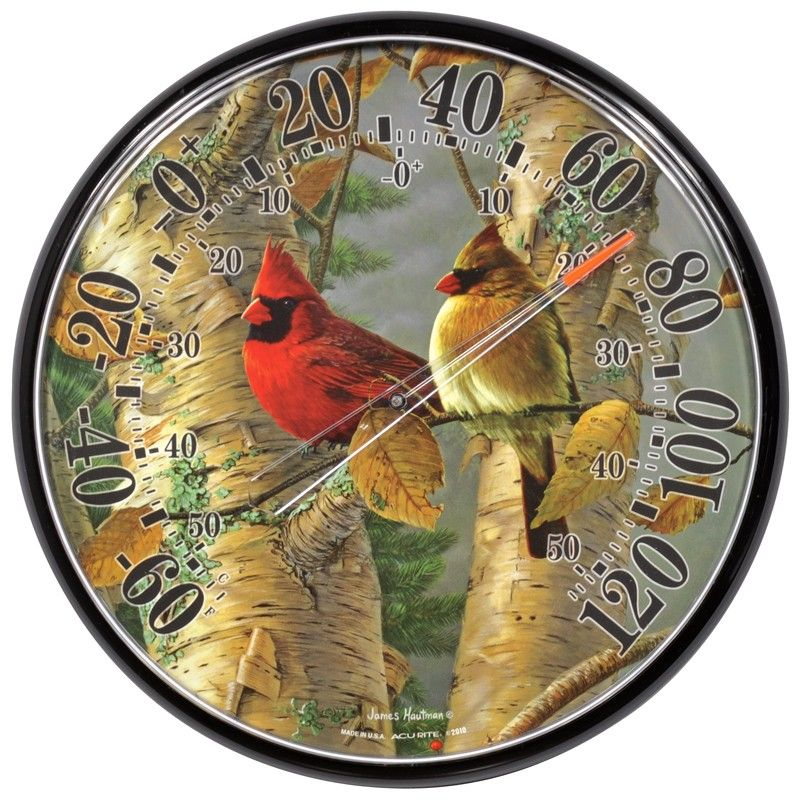 Perched Cardinals Thermometer Outdoor Thermometer Thermometer Thermometers