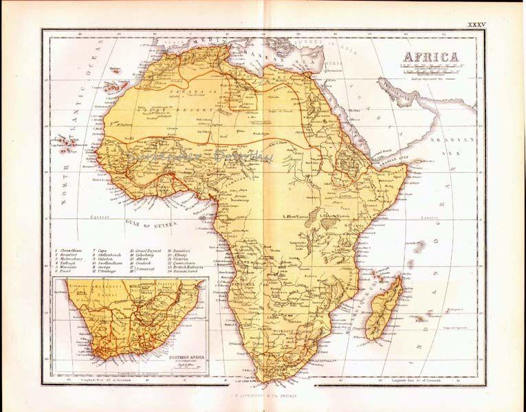 Africa Map Vintage Victorian Lippencott 1871 Antique Copper