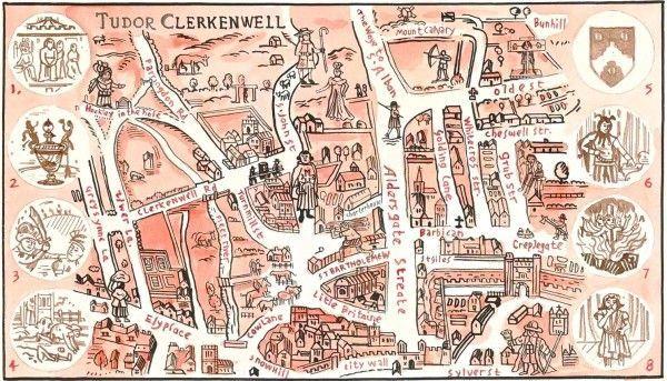 images of tudor era | Tudor period map of clerkenwell | The Tudors
